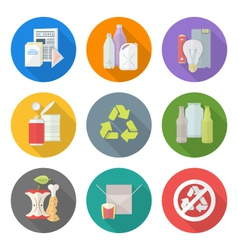 Flat design different waste recycle separate vector