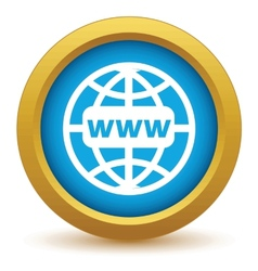 Gold www world icon vector