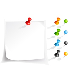 Note paper and pins vector
