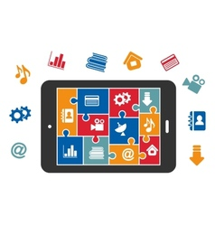 Multimedia icons on tablet screen vector