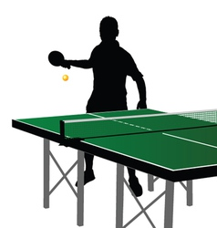 Ping pong player silhouette eight vector