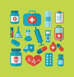 Collection trendy flat medical icons - vector