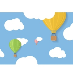 Three coloured aerostats in blue skies with clouds vector