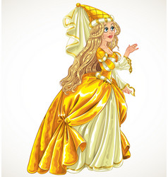 Princess in yellow dress say yes and give her hand vector