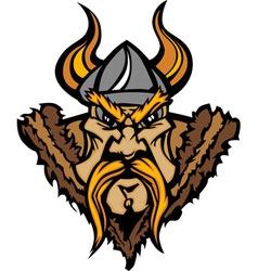 Viking cartoon with horned helmet vector