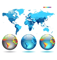 Globes on blue detailed map vector