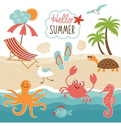 Summer images set vector