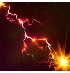 Red shining cosmic plasma lightning vector
