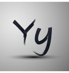 Calligraphic hand-drawn marker or ink letter y vector