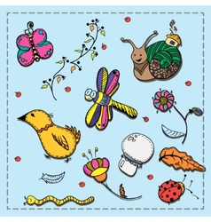 Set of doodles flora insects and birds vector