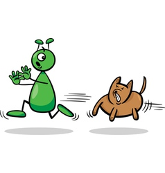 Alien and dog cartoon vector