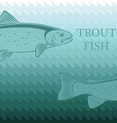 Card with trout vector