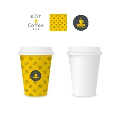 Closed paper cup for coffee with texture vector