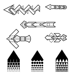 Line art arrows set vector