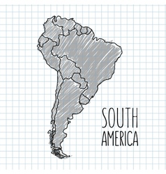 Grey pen hand drawn south america map on vector
