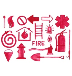 Firefighting icons set watercolor signs on the vector