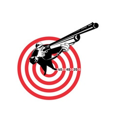 Hunter aiming rifle shotgun bulls eye high angle vector