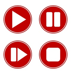 Play pause stop forward buttons set vector