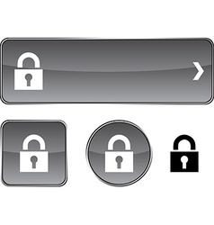 Padlock button set vector