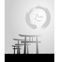 Zen circle and japan scenery vector