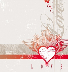 Vintage hand drawn flaming heart vector