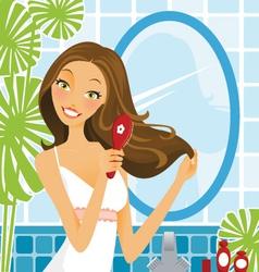 Hairbrush woman vector