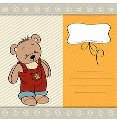 Customizable childish card with funny teddy bear vector
