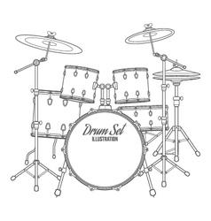 Dark contour drum set technical vector