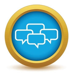 Gold big dialog icon vector