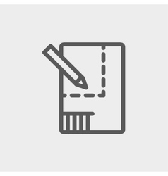 Paper and pencil house sketching thin line icon vector