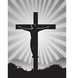 Christian cross on sunburst background vector