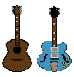 Pixel guitar set1 vector