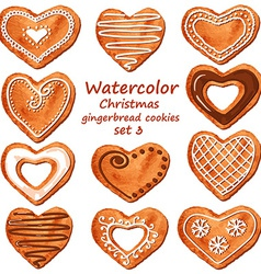 Watercolor heart gingerbread cookies vector