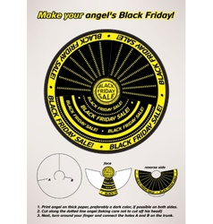 Black friday sale paper angel instructions vector