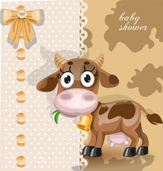 Delicate baby shower card with cute baby cow vector
