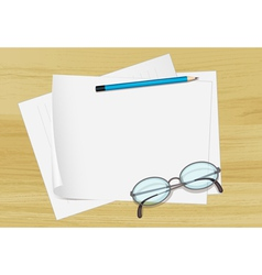 Paper pencil and spectacles vector