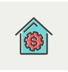 House online payment thin line icon vector