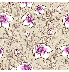 Seamless pattern with pink and white flowers vector