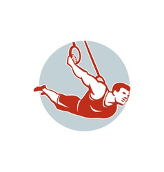 Crossfit athlete muscle-up gymnastics ring retro vector