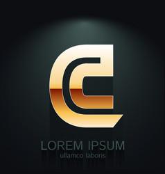 Graphic elegant gold letter c vector