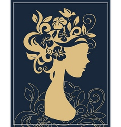 Woman silhouette in flowers vector