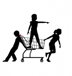 Children shopping vector