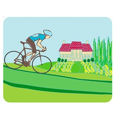Sport road bike bicycle rider in wild nature vector