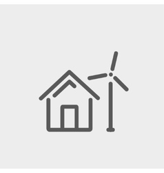 House with windmill thin line icon vector