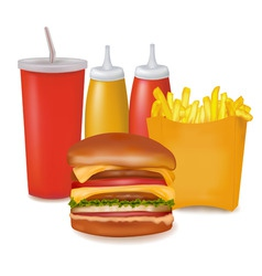 Group of cheeseburger and cola vector