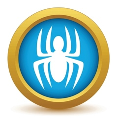 Gold spider icon vector