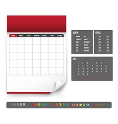 Blank calendar for planning template vector