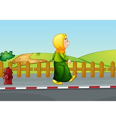 An old lady walking along the road vector