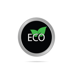 Eco button with leaf color vector