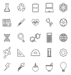 Science line icons on white background vector